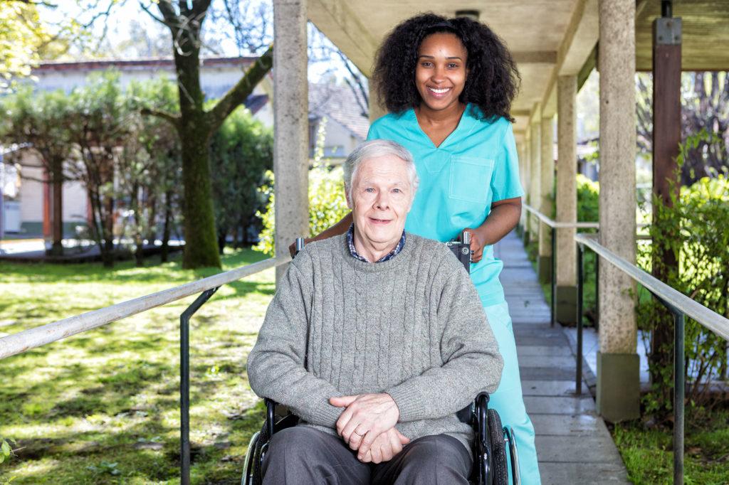 Taking a walk with wheelchair bound patient